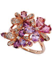 Le Vian | Purple Multi-stone Flower Ring In 14k Rose Gold (2-3/4 Ct. T.w.) | Lyst