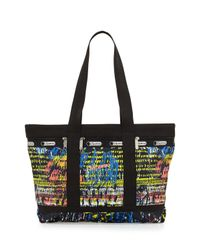 LeSportsac - Black Printed Medium Travel Tote Bag - Lyst