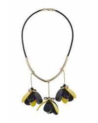 TOPSHOP | Yellow Statement Flower Drop Necklace | Lyst