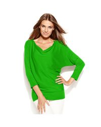 Michael Kors | Green Three Quarter Sleeve Zipper Dolman | Lyst