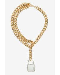 Nasty Gal - Metallic Lockdown Chain Necklace - Lyst
