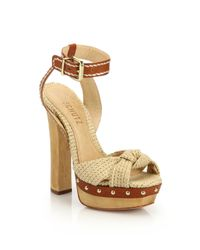 Schutz - Orange Dalla Knotted Denim & Leather Platform Sandals - Lyst