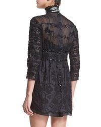 Marc Jacobs - Black Beaded Lace Victorian Mock-neck Dress - Lyst