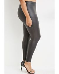 Forever 21 - Black Plus Size Metallic Faux Leather Leggings You've Been Added To The Waitlist - Lyst
