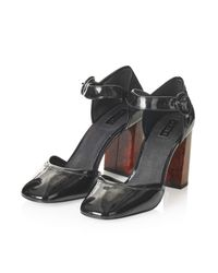 TOPSHOP - Black Ginger Patent Mary Janes - Lyst