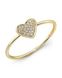 Anne Sisteron - 14kt Yellow Gold Diamond Heart Ring - Lyst