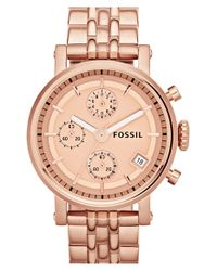 Fossil | Pink 'original Boyfriend' Chronograph Bracelet Watch | Lyst