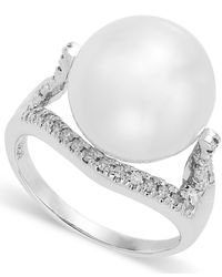 Macy's - 14K White Gold White South Sea Pearl (13Mm) And Diamond (1/4 Ct. T.W.) Ring - Lyst