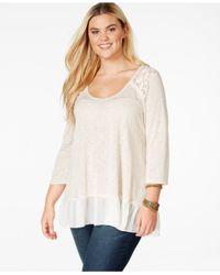 American Rag | Natural Plus Size Lace-trim Blouse | Lyst
