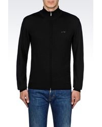 Armani Jeans | Black Full Zip Cardigan In Virgin Wool for Men | Lyst