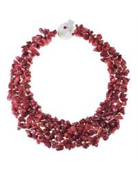 Aeravida | Pink Collared Red Coral Bead Cluster Toggle Necklace | Lyst