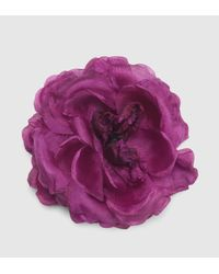 Gucci | Purple Flower Pin In Silk | Lyst