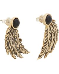 Pamela Love | Metallic Onyx and Feather Drop Earrings | Lyst