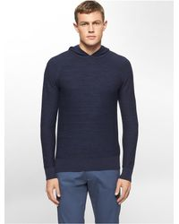 Calvin Klein | Blue White Label Heathered Cotton Modal Hooded Sweater for Men | Lyst