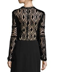 Nanette Lepore - Multicolor Long-sleeve Lace & Velvet Peasant Blouse - Lyst