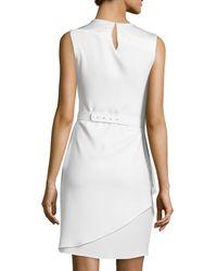 Halston - White Asymmetric-overlay Sheath Dress - Lyst