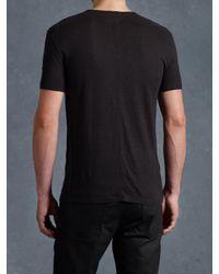 John Varvatos | Black Short Sleeve Slub V-Neck Tee for Men | Lyst