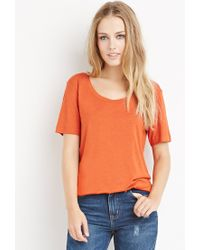 Forever 21 | Orange Scoop Neck Tee | Lyst