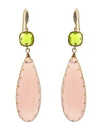 Indulgems | Pink Chalcedony & Green Glass Station Teardrop Earrings | Lyst