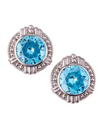 Judith Ripka - Large Round Sky Blue Crystal Earrings - Lyst