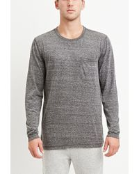 Forever 21 | Black Marled Knit Pocket Tee for Men | Lyst