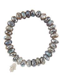 Sydney Evan   10mm Mystic Labradorite Beaded Bracelet With 14k White Gold/diamond Small Hamsa Charm (made To Order)   Lyst