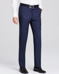 Canali - Blue Textured Solid Siena Classic Fit Trousers for Men - Lyst