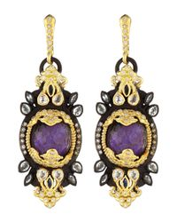 Armenta | Metallic Sugelite & Diamond Mini-Burst Earrings | Lyst