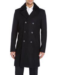SOIA & KYO - Black Gabriel Shearling Collar Overcoat for Men - Lyst