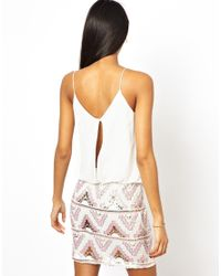 TFNC London | White Cami Dress with Pattern Sequin Skirt | Lyst