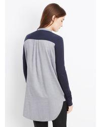 VINCE | Gray Mixed Media Tuxedo Inset Long Sleeve Top | Lyst