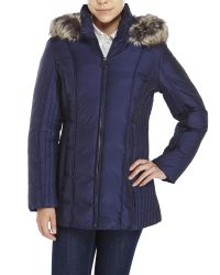Anne Klein | Blue Faux Fur Trim Quilted Down Jacket | Lyst
