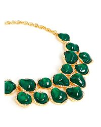 Kenneth Jay Lane - Green Nugget Stone Crystal Bib Necklace - Lyst