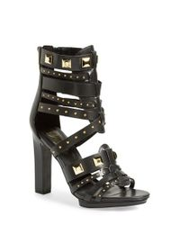 Fergie | Black 'bonnie' Studded Strappy Sandal | Lyst