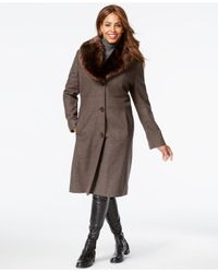 Jones New York - Brown Plus Size Faux-fur-collar Herringbone Walker Coat - Lyst