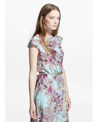 Mango - Blue Floral Print Gown - Lyst