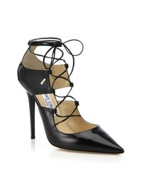 Jimmy Choo   Black Hoops Lace-up Leather Pumps   Lyst