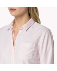Tommy Hilfiger | Pink Cotton Oxford Fitted Shirt | Lyst