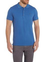DIESEL - Blue T-yahei Metal Logo Polo Shirt for Men - Lyst