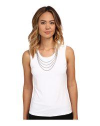 Calvin Klein | Metallic Sleeveless Top W/ Chain Necklace | Lyst