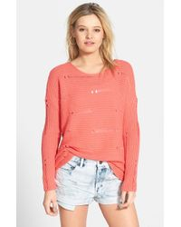 Volcom - Orange 'Easy Does It' Destroyed Sweater - Lyst