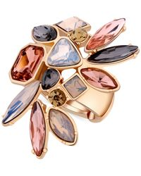 Guess - Metallic Gold-tone Multi-stone Stretch Ring - Lyst