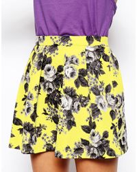 ASOS - Yellow Skater Skirt in Quilted Floral Print - Lyst