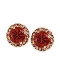 Betsey Johnson - Goldtone Pink Crystal Round Stud Earrings - Lyst