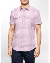 Calvin Klein | Purple White Label Slim Fit Ombre Gingham Short Sleeve Shirt for Men | Lyst