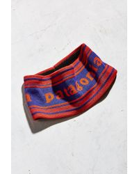 Patagonia - Orange Lined Knit Printed Headband - Lyst