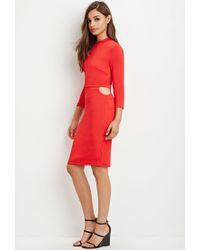Forever 21 - Layered Cutout Midi Dress - Lyst