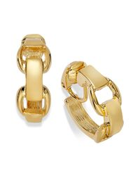 Lauren by Ralph Lauren - Metallic Goldtone Stirrup Small Hoop Clipon Earrings - Lyst