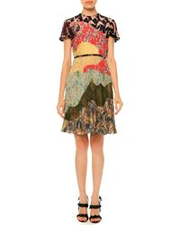 Valentino - Multicolor Pleated Short-sleeve Patchwork Silk Dress - Lyst