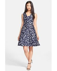 a084700099 Lyst - Kate Spade Leopard Print Fit   Flare Dress in Blue